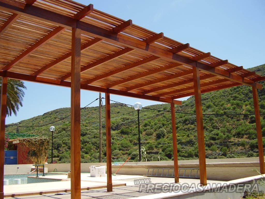 Chalet de jardin avec pergola - Techos para pergolas de madera ...