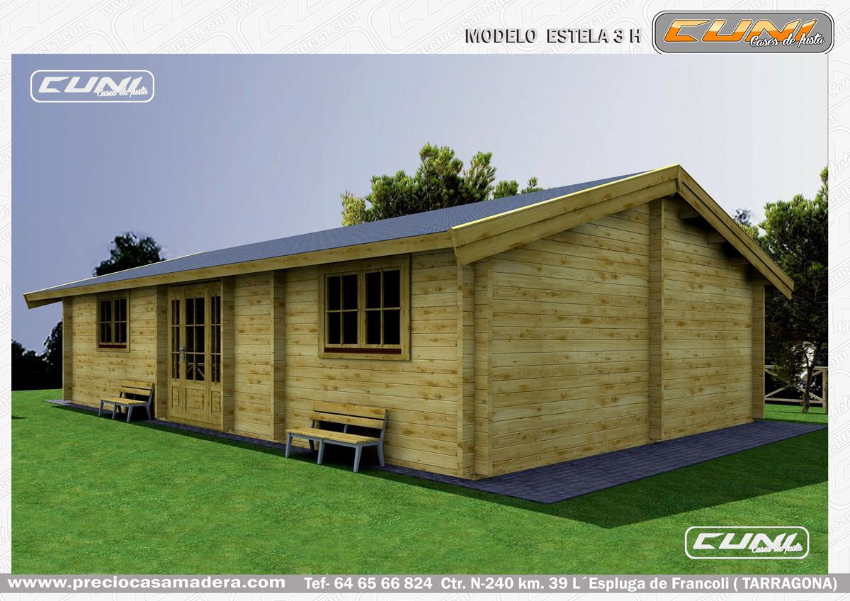 Bungalow de madera estela 3 casas de madera y bungalows - Casas prefabricadas tarragona ...