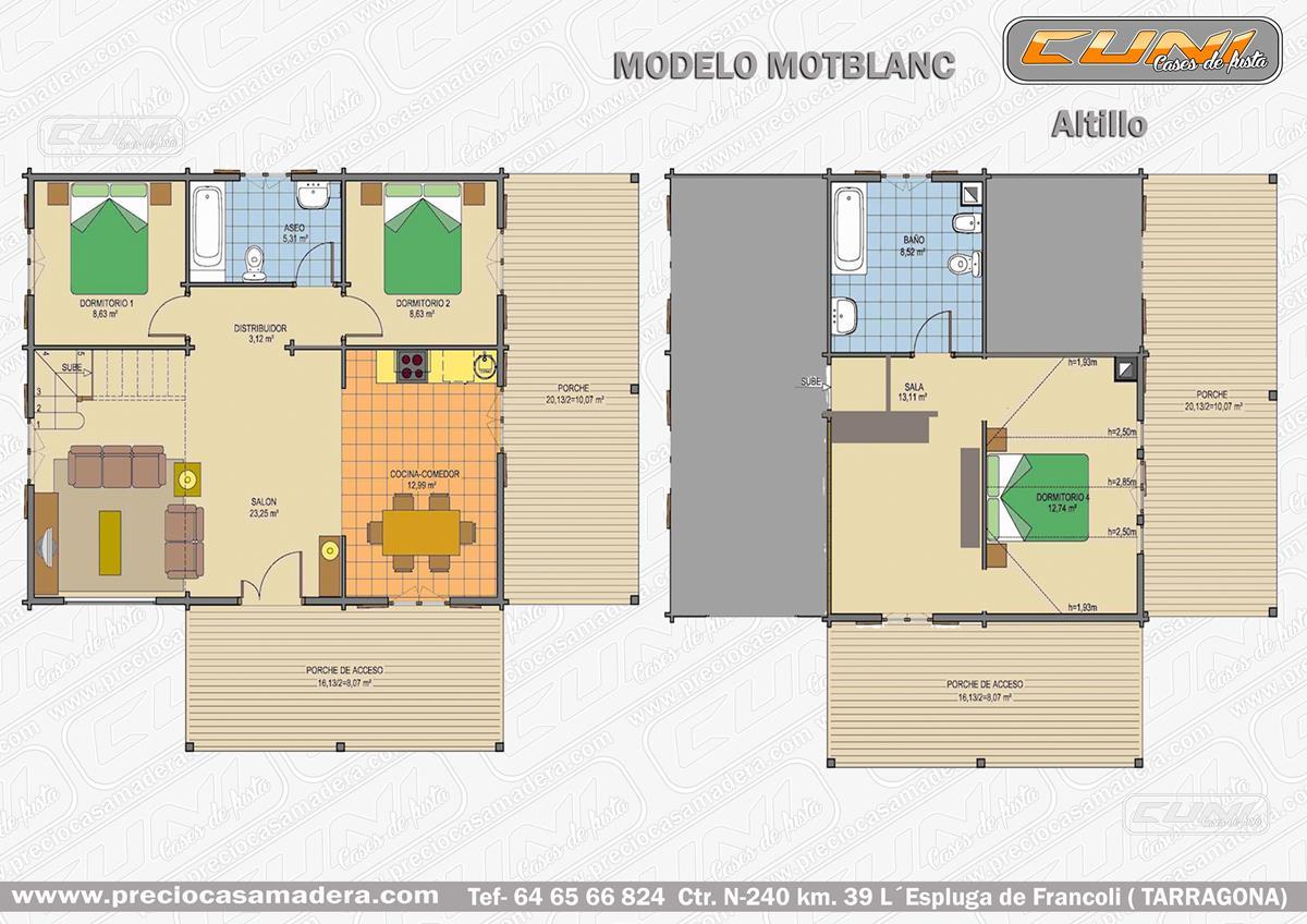 Casa de madera prefabricada montblanc casas de madera y for Casas de madera a medida